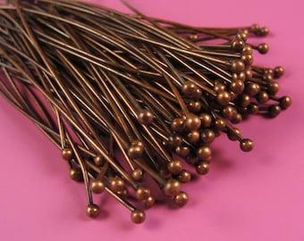 Antique Red Copper  ball headpins, 60mm, 21 gauge, 100pcs  HP7512