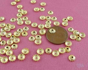 100 PCS Gold brass fluted ribbed bead caps, 6mm, CP4707