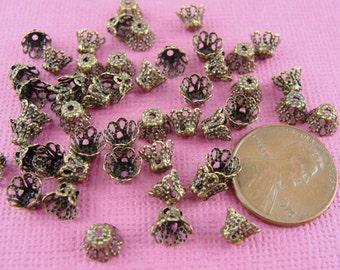 100 PCS Antique bronze filigree bead caps, 5x6mm, CP4705