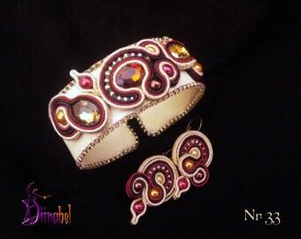 Beige and maroon soutache earrings and bracelet set