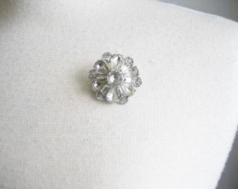 Vintage Czech Glass Faceted Rhinestone Flower Brooch Pin