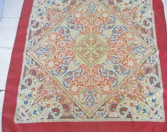 Vintage Silk Scarf with Paisley Floral Design- Made in England by Liberty of London