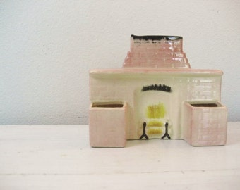 40% off SALE-use coupon code Discount40 at checkout-Vintage Match Holder Ceramic Pottery Fireplace- Pink, Mid Century