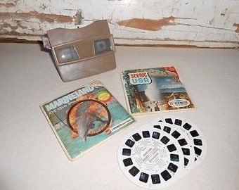 Vintage Viewmaster 3-D Viewer with Scenic USA Reels