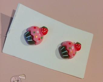 Pink Cupcake Stud Earrings