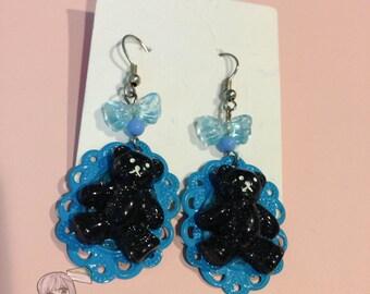 Black Bear Blue Cameo Dangle Bow Earrings