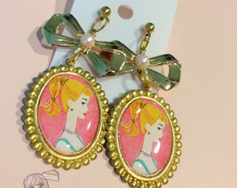 Vintage Barbie Gold Cameo Bow Dangle Earrings