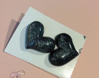 Big Black Heart Stud Earrings