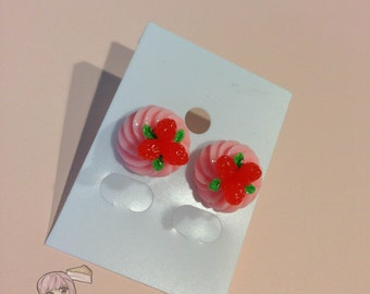 Pink Strawberry Dessert Stud Earrings