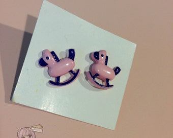 Pink And Purple Rocking Horse Stud Earrings