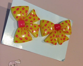 Big Yellow And Pink Stud Earrings