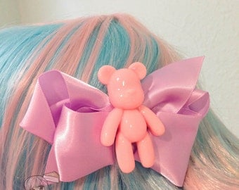 Pink Or Purple Teddy Bear Decora Fairy Kei Bow Hair Barrette (1 pcs)