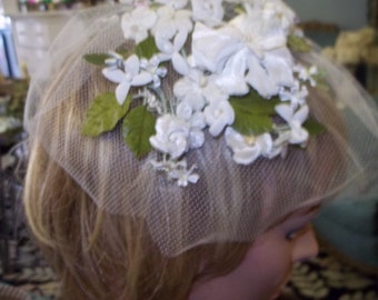 Vintage floral headpiece with veil! Summer  wedding or garden party! FREE SHIPPING