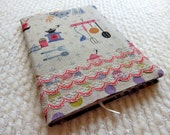 Mod Kitchen and Vintage Lace Fabric Covered B6 Retro Notebook