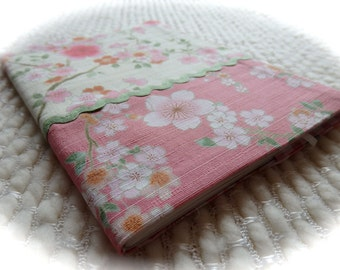 Cherry Blossom Fabric Notebook, Cherry Blossoms and Rick Rack Fabric Notebook Cover, Pink and Cream Japanese B6-size Retro Notebook & Cover