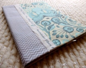 Octopus and Flowers Fabric Covered Notebook,  Tula Pink Selvedge B6 Retro Notebook, Patchwork Notebook Cover, Teal Gray Ivory Chevrons