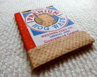 Pig Notebook, Hog Wash Fabric Covered B6 Retro Notebook, Pig Feed Sack, Red White Blue, Plaid
