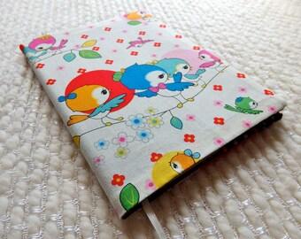 Retro Bird Notebook, Kawaii Birds Fabric Notebook Cover, Japanese Birds Patchwork Fabric Covered B6-size Retro Notebook, Blue Pink Red White