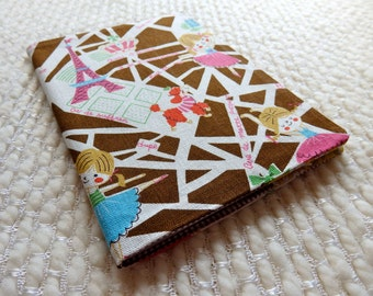 Paris Ballerinas Fabric Covered Notebook, Eiffel Tower Paris Map Notebook, B6-size Retro French Map Fabric Notebook Cover, Pink Brown White