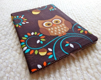 Brown Owl Fabric Notebook Cover, Cute Owl Patchwork Fabric Covered B6-size Retro Notebook, Brown Orange Green Turquoise White Owl and Acorn