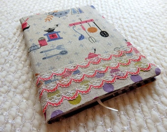 Mod Kitchen Fabric Notebook Cover with Vintage Lace, Retro Kitchen Fabric Covered B6-size Retro Notebook, Coffee Grinder, cream blue red