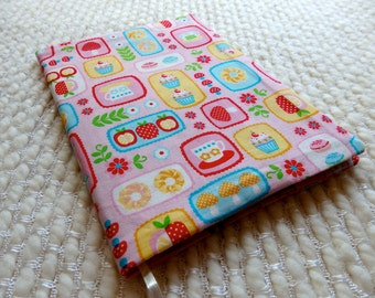 Tea Time Notebook, Kawaii Retro Japanese Tea Time Fabric Covered Notebook, B6 Size Retro Notebook with Fabric Cover, Pink Blue Yellow White