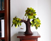 Weeping willow with owls, Decoration, Home decor, Children Decor, Felt green Tree