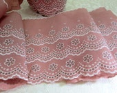 "Vintage Trim Flocked Fabric Sewing Notions Five Yards 6"" Inches Wide Pink Dusty Rose White Lace Trim NOS New Old Stock Unused"