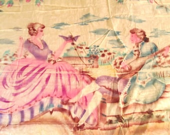 Antique Bedspread Italian Baroque Figural Hand Painted 1920s Coverlet Bed Cover