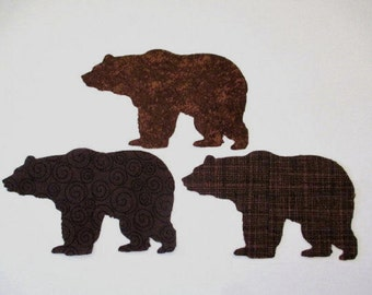 3 Woodland Bear Iron On Appliques   Pick Size