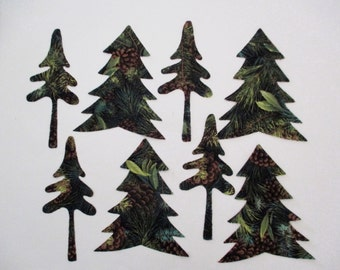9 Woodland Primitive Winter Trees Iron On Appliques