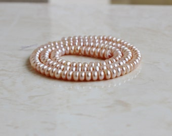 Freshwater Pearl Pink Button Pastel Pink 5mm Full Strand 125 beads