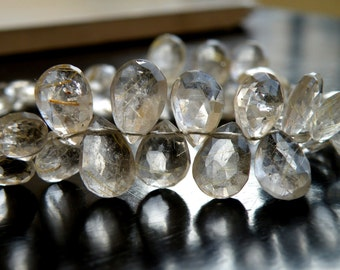 Rutilated Quartz Briolette Gemstone Golden Faceted Pear Teardrop 9 to 10mm 28 beads