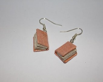 Peach Miniature Bound Book Earrings