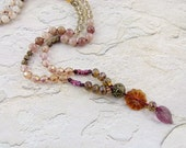 "Hand-knotted Necklace of Crystals, Semi-Precious Stones & Glass Beads ""Autumn Dusk"" - Item 1473"