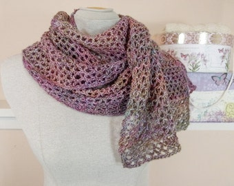 Lacy Knit Scarf in Pastel Tonal-Dyed Lightweight Merino Wool - Item 1268
