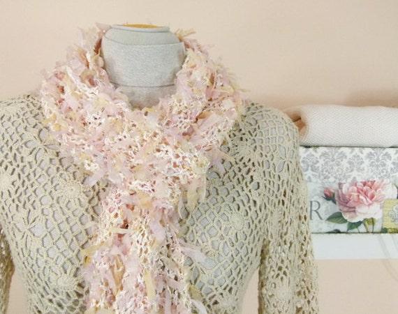 Pink Handknit Scarf - Pretty Scarf, Lightweight, Long - Item 927