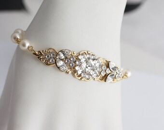 Gold Wedding Jewelry Gold Bridal Bracelet Ivory Pearl Bracelet Filigree Cuff Bracelet Square Crystal  Pearl Wedding Bracelet, ANNA BRACELET