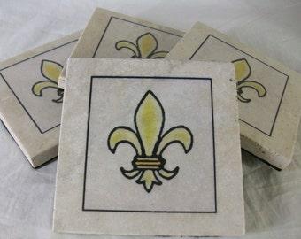 Fleur-de-lis Natural Stone Travertine Coasters