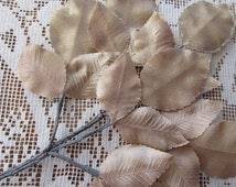 Vintage Millinery Leaves Japan Embossed Tan Ombre Satin Fabric Rose Leaves  VL 125 LBR