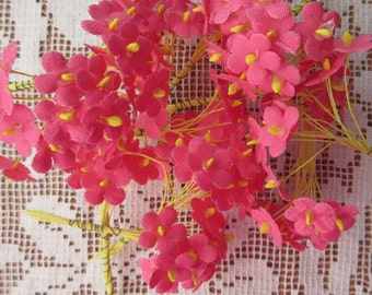 120 Forget Me Not Nots Vintage Fabric Millinery Flowers Germany Bright PInk  Group B