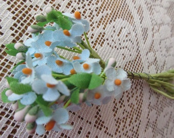 Vintage Fabric Forget Me Nots Millinery Flowers Germany