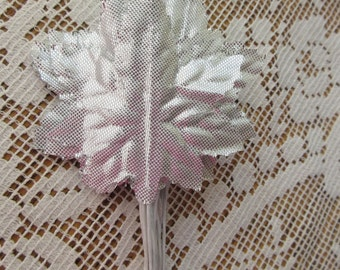 24 Embossed Silver Metallic Satin Fabric Maple Millinery Leaves BDL 10