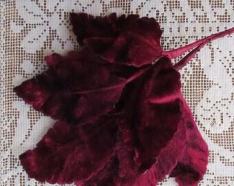 Vintage Millinery Leaves 1950s Germany Ruby Burgundy Velvet Rose Leaves  VL 128 BU