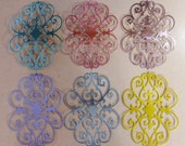 6 Large Foil Flourish Die Cuts Made With Anna Griffin Dies 5.5 by 4 Inches Metallic Card stock in Pastels