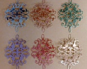 6 Medium Foil Flourish Die Cuts Made With Anna Griffin Dies 4.75 by 3.25 Inches Metallic Card stock in Pastels