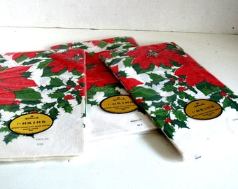 Vintage Hallmark Christmas Table Covers - 44 inches X 44 inches - Bridge Table Size