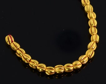 18k Solid Yellow Gold Pumpkin Spacer Findings Beads 2.4 INCH Strand (19)