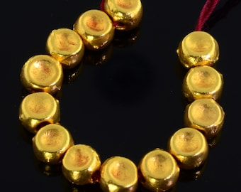 18k Solid Yellow Gold Dimpled Round Drum Spacer Beads 2.5 INCH Strand (13)