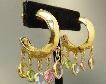 Vintage Swarovski Crystal Dangle Hoop Earrings Swan Mark